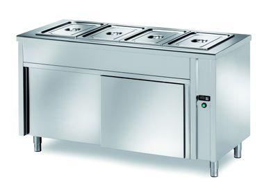 Table chauffante de libre-service PROFI neutre avec portes coulissantes 1500x700x890 – 4x GN 1/1