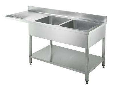 Plonge passage lave-vaisselle Basic 18x7 avec 2 bacs à droite