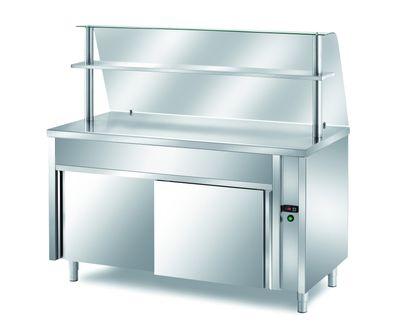 Table chauffante de distribution PROFI neutre avec portes coulissantes, plan de travail chauffé et structure en verre 1500x700x1400