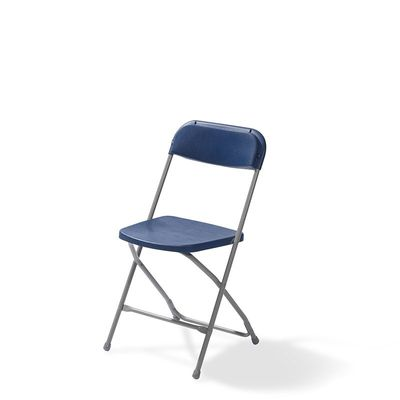 Chaise pliante Budget gris/bleu, châssis en acier, pliante