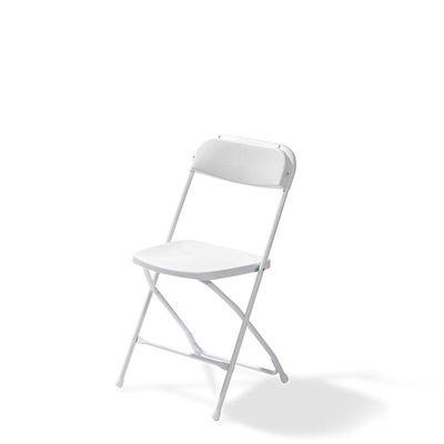 Chaise pliante Budget, blanche, châssis en acier, pliante