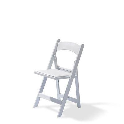 Chaise de mariage chaise pliante, blanche, siège en métal, revêtement en similicuir