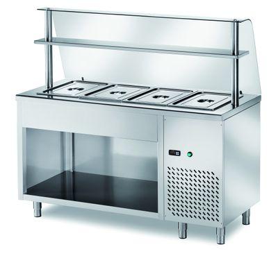 Table réfrigérée de distribution PROFI ouverte avec structure en verre 1200x700x1400 – 3x GN 1/1