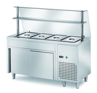 Table réfrigérée de distribution PROFI neutre avec portes coulissantes et structure en verre 1200x700x1400 – 3x GN 1/1