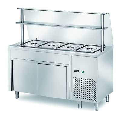Table réfrigérée de distribution PROFI neutre avec portes coulissantes et structure en verre 1500x700x1400 – 4x GN 1/1