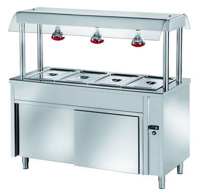 Ilot buffet PROFI chaud neutre avec portes coulissantes, écran de protection hygiénique et lampes chauffantes 1200x700x1500 – 3x GN1/1