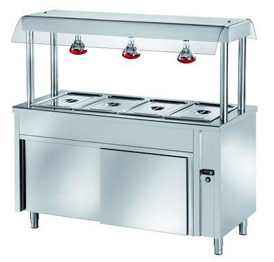 Ilot buffet PROFI chaud neutre avec portes coulissantes, écran de protection hygiénique et lampes chauffantes 1500x700x1500 – 4x GN1/1