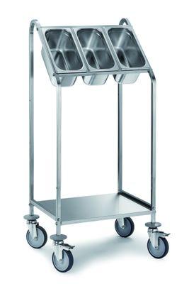 Chariot à couverts PROFI avec étagère pour 3bacs GN 1/3-150