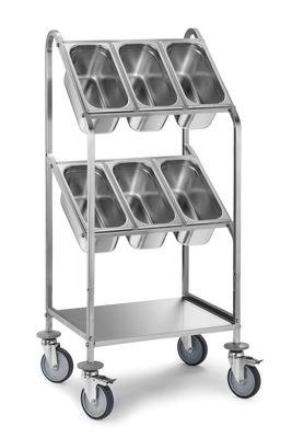 Chariot à couverts PROFI avec deux étagères pour 6bacs GN 1/3-150