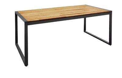 Bolero rechteckiger Stahl- und Akazienholztisch im industriellen Stil