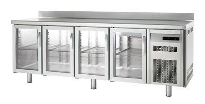 Table congélation Premium 4/0 avec portes en verre et dosseret