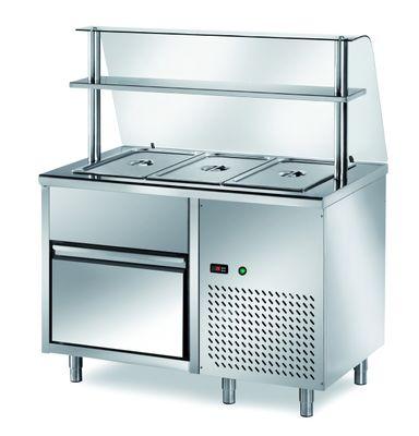 Table réfrigérée de distribution PROFI B200 avec tiroir et structure en verre 1200x700x1400 – 3GN1/1