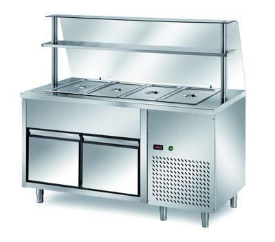 Table réfrigérée de distribution PROFI B200 avec tiroir et structure en verre 1500x700x1400 – 4GN1/1