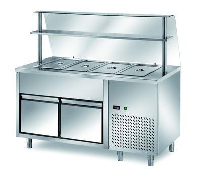 Table réfrigérée de distribution PROFI B200 avec tiroir et structure en verre 2000x700x1400 – 5x GN1/1