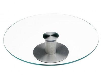 Tortenplatte, drehbar, Glas/Edelstahl Höhe 7cm, Durchmesser 30cm