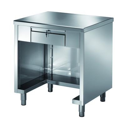 Kassentisch PROFI 3-seitig geschlossen mit verschließbare Schublade 800x700x890