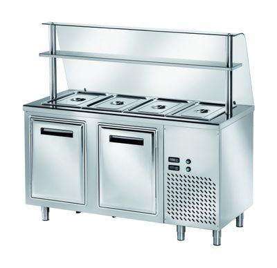 Table réfrigérée de distribution PROFI B200 avec portes battantes 1500x700x890 – 4x GN 1/1