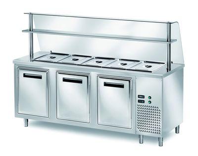 Table réfrigérée de distribution PROFI B200 avec portes battantes et structure en verre 2000x700x1400 – 5x GN 1/1