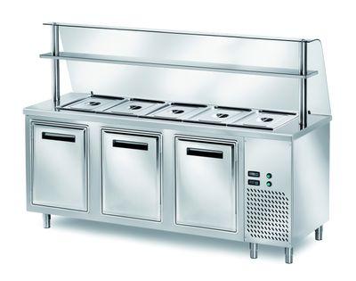 Ausgabe Kühltisch PROFI gekühlt B200 mit Flügeltüren 2000x700x890 - 5x GN 1/1