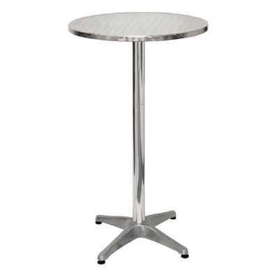Table haute ronde en inox Bolero, 1 pied, diamètre 60 cm