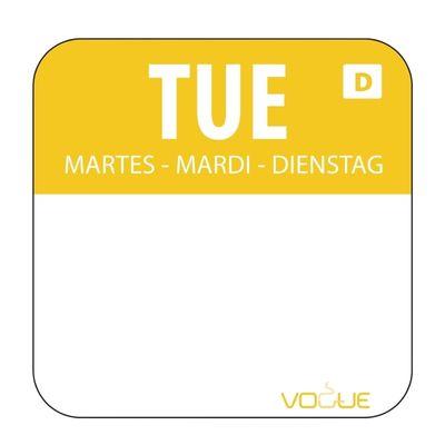 Étiquettes mardi/jaune solubles dans l'eau - 1 000 pièces