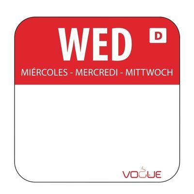 Wochentagetiketten Mi/rot wasserlöslich - 1.000 Stück