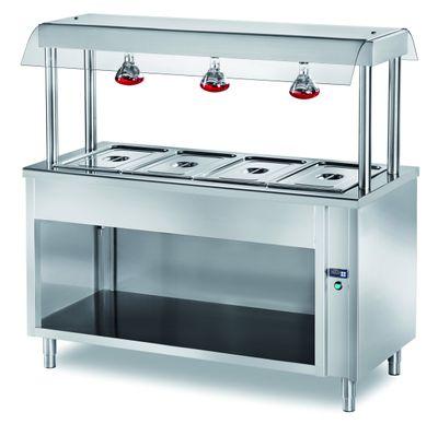 Ilot buffet PROFI chaud ouvert avec écran de protection hygiénique et lampes chauffantes 1500x700x1500 – 4x GN1/1