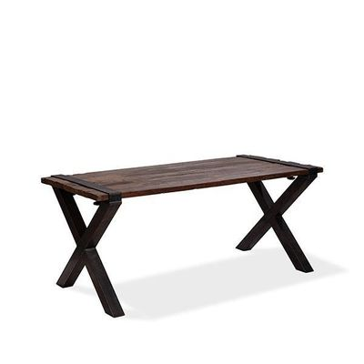 Table Old Dutch avec plateau Barnwood, basse 2200 x 800 x 760 mm- cadre en U