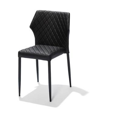 Chaise de restaurant Louis, noire, rembourrée en cuir synthétique