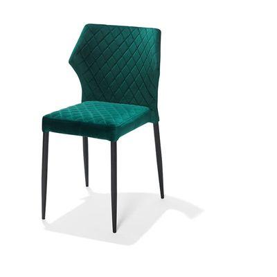 Chaise de restaurant Louis, rembourré en tissu velours vert