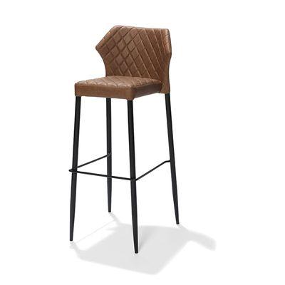 Chaise de bar Louis, couleur Cognac, rembourrée en cuir synthétique