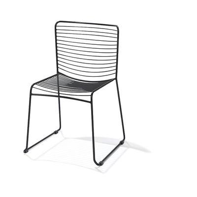 Stahldraht Stuhl stappelbar, Schwarz