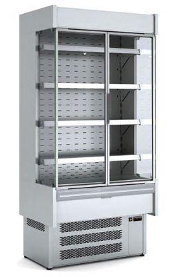 Wandkühlregal Profi 1500 Edelstahl mit Glastüren