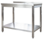 Edelstahl Arbeitstisch Profi 1000 x 600 mm - mit Grundboden und Aufkantung