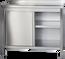 Armoire de travail en inox Profi avec portes coulissantes et dosseret 1500 x 700mm