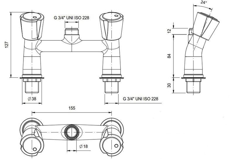 Zweiloch Geschirrwaschbrause Profi 100 + Mischbatterie