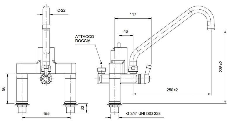 Zweiloch Geschirrwaschbrause Profi 200 + Mischbatterie
