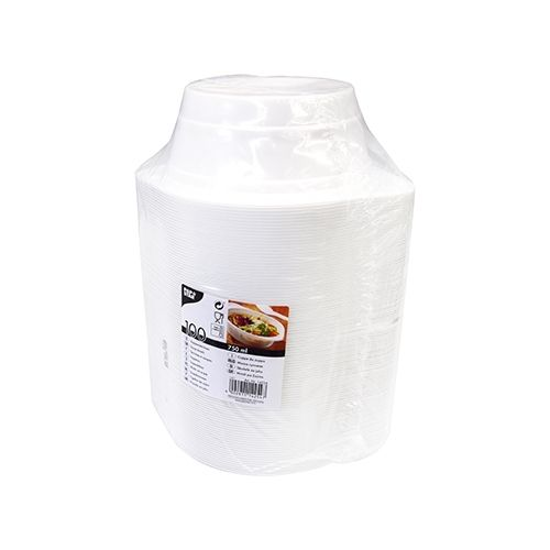 100 bols à soupe Papstar, PP, ronds, 750 ml, Ø 15,6 cm x hauteur : 6,5 cm, blancs, avec anses
