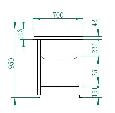 Spültisch Basic 20x7 mit 2 Becken rechts