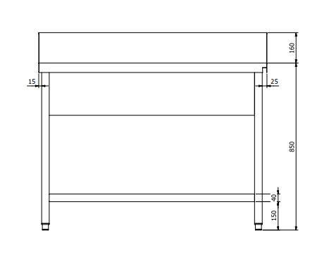 Zulauftisch PROFI 1600 x 700 Rechts