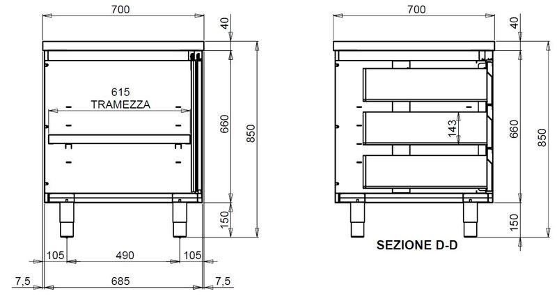 Edelstahl-Arbeitsschrank ECO mit Flügeltür und 3 Schubladen 12x7