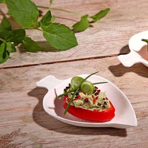 """Papstar  Pure  Fingerfood-Teller - """"Leaf""""; Zuckerrohr - 50 Stück"""