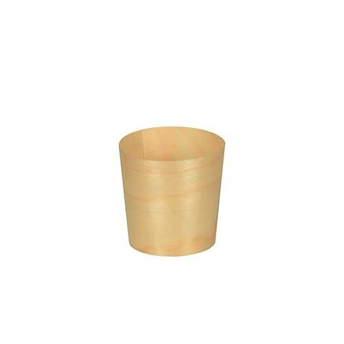Papstar  Pure  Fingerfood-Schale; rund; Holz - 50 Stück Ø 4,5 cm x 4,5 cm