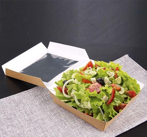 Papstar  Pure  Sandwichbox mit Sichtfenster; eckig; Pappe - 25 Stück - 750 ml