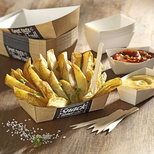 "Papstar  Pure  Pommes-Frites-Trays - M - ""Good Food"" - 50 Stück"
