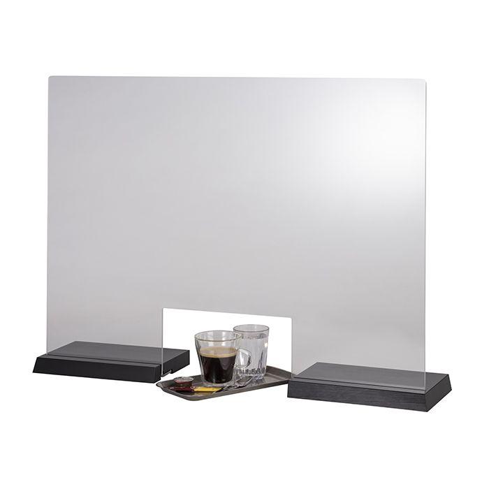 APS Hygieneschutzwand TILE mit Öffnung schwarz 750 x 570
