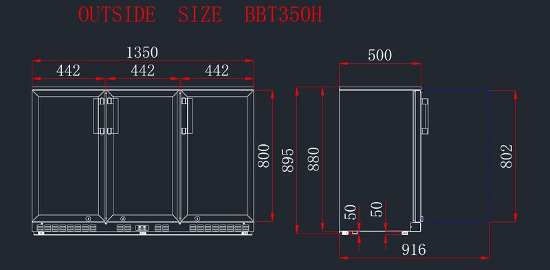 Barkühlschrank ECO 320 Liter mit Schiebetüren schwarz
