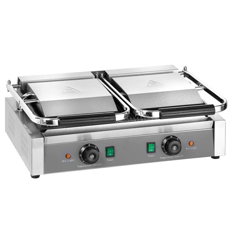 Grill panini électrique ECO 2 x 1,8 kW, rainuré