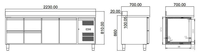 Kühltisch ECO 2/4 mit Aufkantung - GN 1/1