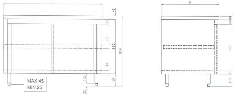 Edelstahl Arbeitsschrank ECO 10x6